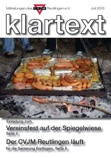 Klartext Juni 2013 als PDF zum Herunterladen - CVJM Reutlingen eV