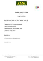 PRESSEMAPPE DAB PUMPS - DAB Pumpen