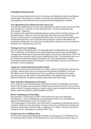 Umbaupläne Bismarckstraße (PDF, 40KB) - Dadina