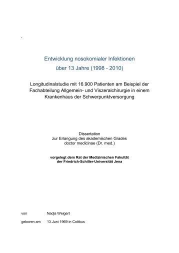 Entwicklung nosokomialer Infektionen über 13 Jahre (1998 - 2010)