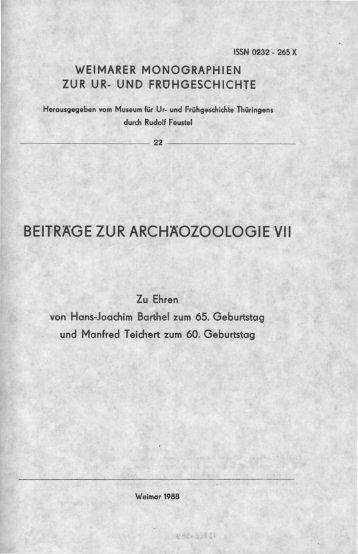 BEITRÄGE ZUR ARCHÄOZOOLOGIE VII