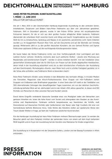 hans-peter feldmann. kunstausstellung 1. märz – 2 ... - Deichtorhallen