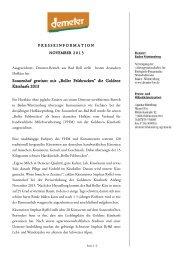 """Sonnenhof gewinnt mit """"Boller Felsbrocken"""" die Goldene ... - Demeter"""