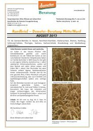Beraterrundbrief Landwirtschaft August 2013 - Demeter
