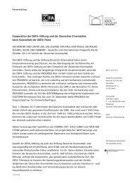 Kooperation der DEFA-Stiftung und der Deutschen Kinemathek ...
