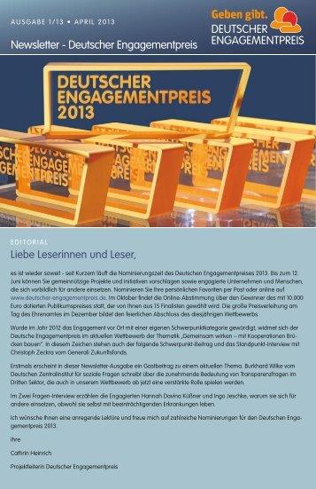 Geben gibt. Newsletter April 2013 (PDF) - Deutscher ...