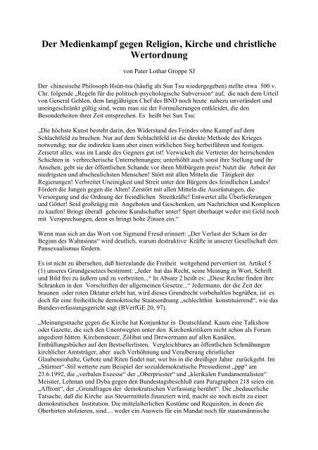 Der Medienkampf gegen Religion und Kirche - Das Deutschland ...