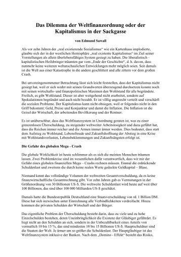 Das Dilemma der Weltfinanzordnung - Das Deutschland Journal