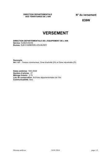Répertoire d'archives détaillé : DDE de l'Ain: Travaux communaux ...