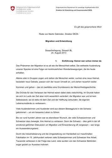 Migration und Entwicklung - DEZA
