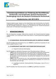 2013/14, binationale und trinationale Studiengänge - DFH