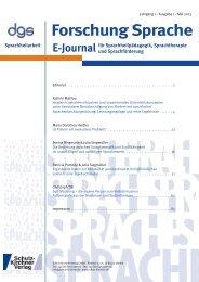 Forschung Sprache - Deutsche Gesellschaft für Sprachheilpädagogik
