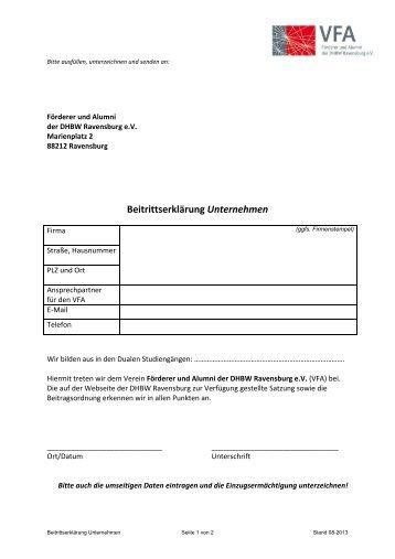 Beitrittserklärung Unternehmen - DHBW Ravensburg