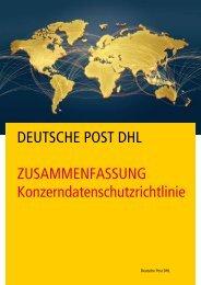 Konzerndatenschutzrichtlinie Zusammenfassung - DHL