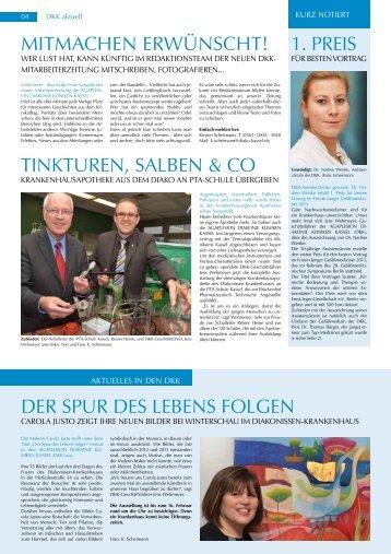 DKK aktuell 1. Quartal 2014 - AGAPLESION DIAKONIE KLINIKEN ...