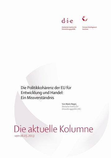 Die Politikkohärenz der EU für Entwicklung und Handel - Deutsches ...