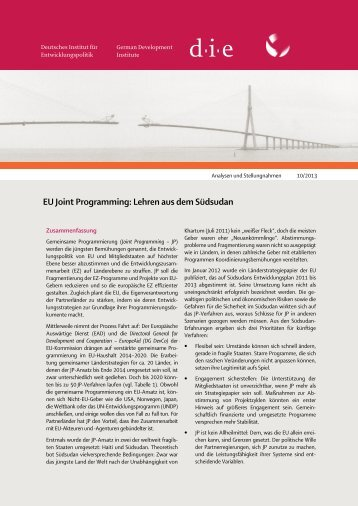 EU Joint Programming: Lehren aus dem Südsudan - Deutsches ...