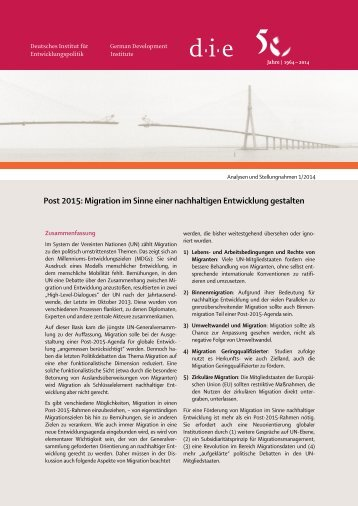 Migration im Sinne einer nachhaltigen Entwicklung gestalten