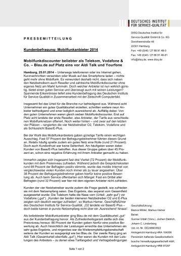 Hamburg, 25.01.2014 → Kundenbefragung Mobilfunkanbieter