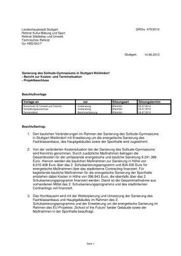 1. Den baulichen Veränderungen im Rahmen der ... - Stuttgart