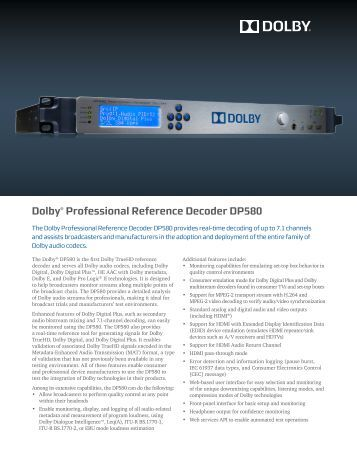 Dolby® Professional Reference Decoder DP580