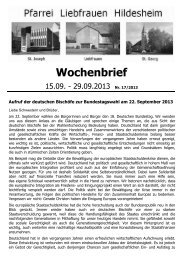 Wochenbrief - Bistum Hildesheim