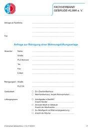 Anfrage zur Reinigung - Fachverband Gebäude-Klima e. V.