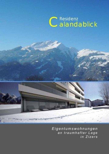 """Verkaufsdokumentation """"Calandablick"""" - dp immotrade ag"""
