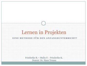 Lernen in Projekten - Dr. Hans Toman
