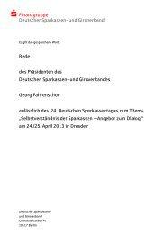 Rede des Präsidenten des Deutschen Sparkassen