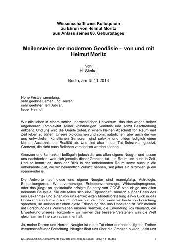 Meilensteine der modernen Geodäsie – von und mit Helmut ... - DVW