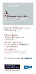 3. Philharmonisches Konzert - Die Duisburger Philharmoniker