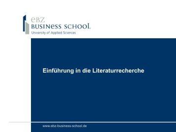 Benutzerschulung - Einführung in die Literaturrecherche