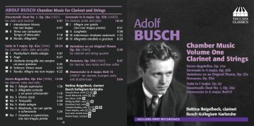ADOLF BUSCH Chamber Music for Clarinet and Strings - eClassical