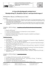 Modul P3 - Department Pädagogik und Rehabilitation - LMU