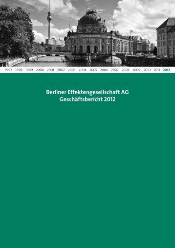 Geschä - Berliner Effektengesellschaft AG