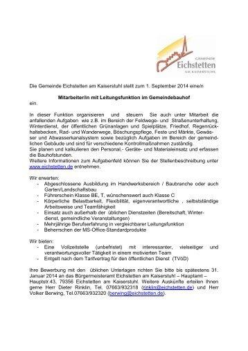 Stellenausschreibung Bauhofmitarbeiter mit Leitungsfunktion