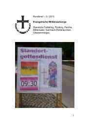 Rundbrief III / 2013 - der Evangelischen Militärseelsorge