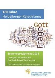 Sommerpredigtreihe zum Heidelberger Katechismus - Evangelische ...