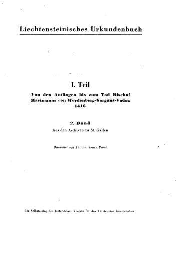Liechtensteinisches Urkundenbuch I. Teil - eLiechtensteinensia