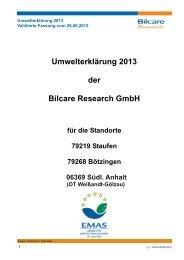Umwelterklärung 2013 der Bilcare Research GmbH - EMAS