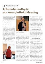 Erfarenhetsutbyte om energieffektivisering - Energimyndigheten