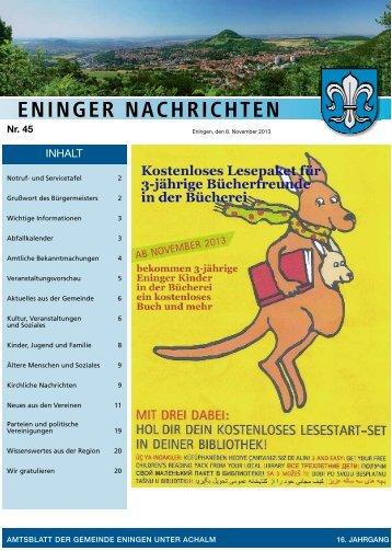 30. Oktober 2013 - Gemeinde Eningen unter Achalm