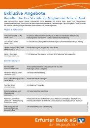 Exklusive Angebote unserer Vorteilspartner - Erfurter Bank eG