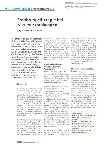 Ernährungstherapie bei Nierenerkrankungen