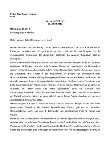 Ansprachen von Prälat Professor Dr. Max Eugen Kemper