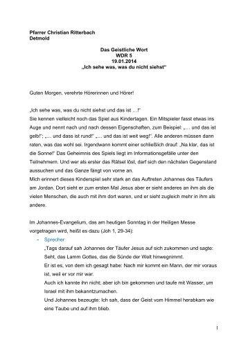 Geistliches Wort von Pfarrer Christian Ritterbach - Erzbistum ...
