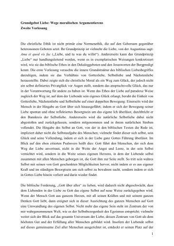 Prof. Schockenhoff Ethik Grundgebot Liebe