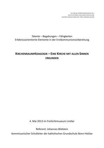 Dokumente zur Kirchenraumpädagogik - Erzbistum Köln