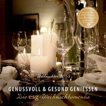 Die esg-Weihnachtsmenüs - ESG - Institut für Ernährung